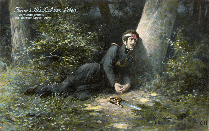 """Beschriftung: """"Körner's Abschied vom Leben. Die Wunde brennt, / Die bleichen Lippen beben."""" Im Bild monogrammiert: O. H. Verso: Signet: PFB [Paul Fink, Kunstanstalt, Berlin]. Gelaufen. Poststempel 1915. Zensurierte Feldpostkarte. – O.H. wahrscheinlich Otto Heichert (1868–1946).<br>Quelle: <a href=""""http://www.goethezeitportal.de/?id=3816"""">Goethezeitportal</a><br>Lizenz: <a href=""""http://www.goethezeitportal.de/?id=3816"""">Nicht-kommerzielle Nutzung gestattet</a> (vgl. Ende der verlinkten Seite)"""