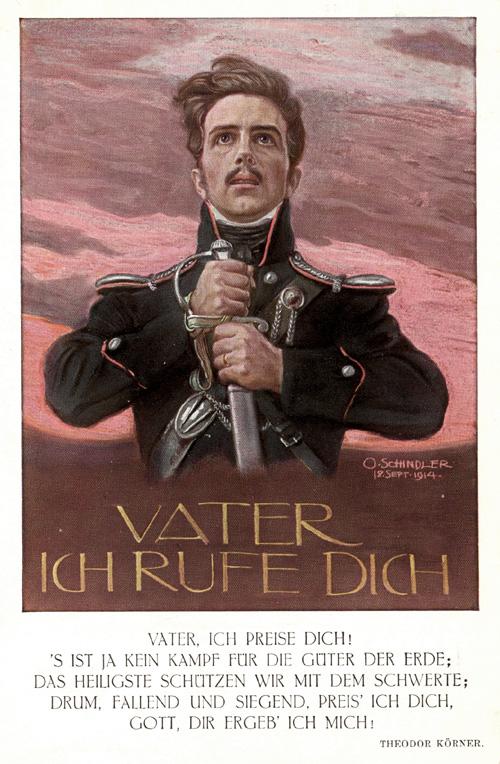 """Beschriftung: """"Vater ich rufe dich."""" Im Bild signiert """"O. Schindler 18. Sept. 1914."""" [Wahrscheinlich Osmar Schindler.] Verso: Römmler & Jonas, Dresden. Gelaufen. Datiert u. Poststempel 1915. <br>Quelle: <a href=""""http://www.goethezeitportal.de/?id=3816"""">Goethezeitportal</a><br>Lizenz: <a href=""""http://www.goethezeitportal.de/?id=3816"""">Nicht-kommerzielle Nutzung gestattet</a> (vgl. Ende der verlinkten Seite) <br><strong>Erläuterung:</strong> Der Text unter dem Bild ist ein Zitat der fünften Strophe aus Körners Gedicht """"Gebet während der Schlacht"""" (1813): """"Vater, ich preise dich! / 's ist ja kein Kampf um die Güter der Erde; / Das Heiligste schützen wir mit dem Schwerte: / Drum, fallend und siegend, preis' ich dich; / Gott, dir ergeb' ich mich!"""""""