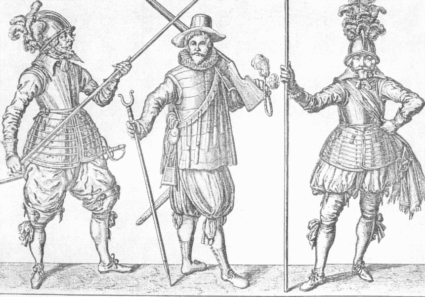 """16. Jahrhundert. Links und rechts: Doppelsöldner mit Pike, Mitte: Hackenschütze mit Gabel zum Auflegen der Arkebuse. <br>Quelle: <a href=""""https://commons.wikimedia.org/wiki/File:Drei_Landsknechte.png"""">User:AxelHH / Wikimedia Commons</a><br>Lizenz: Gemeinfrei"""