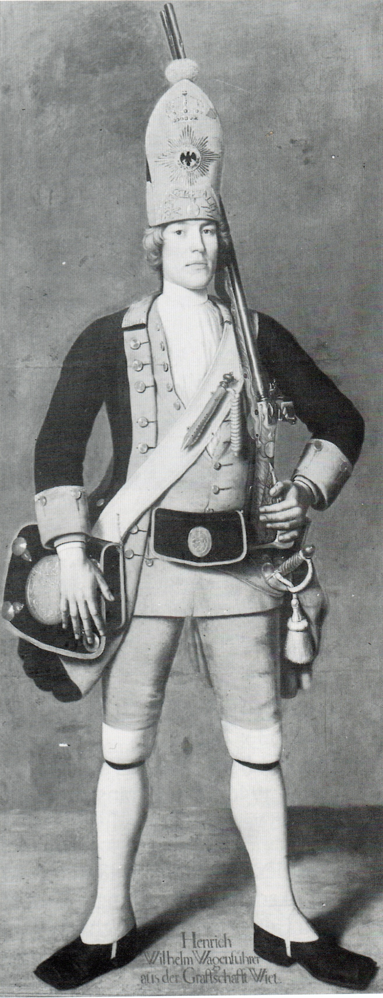 """Johann Christof Merk: """"Wagenführer aus der Grafschaft Wied vom Roten Leibbatallion der Riesengarde Friedrich Wilhelm I."""""""