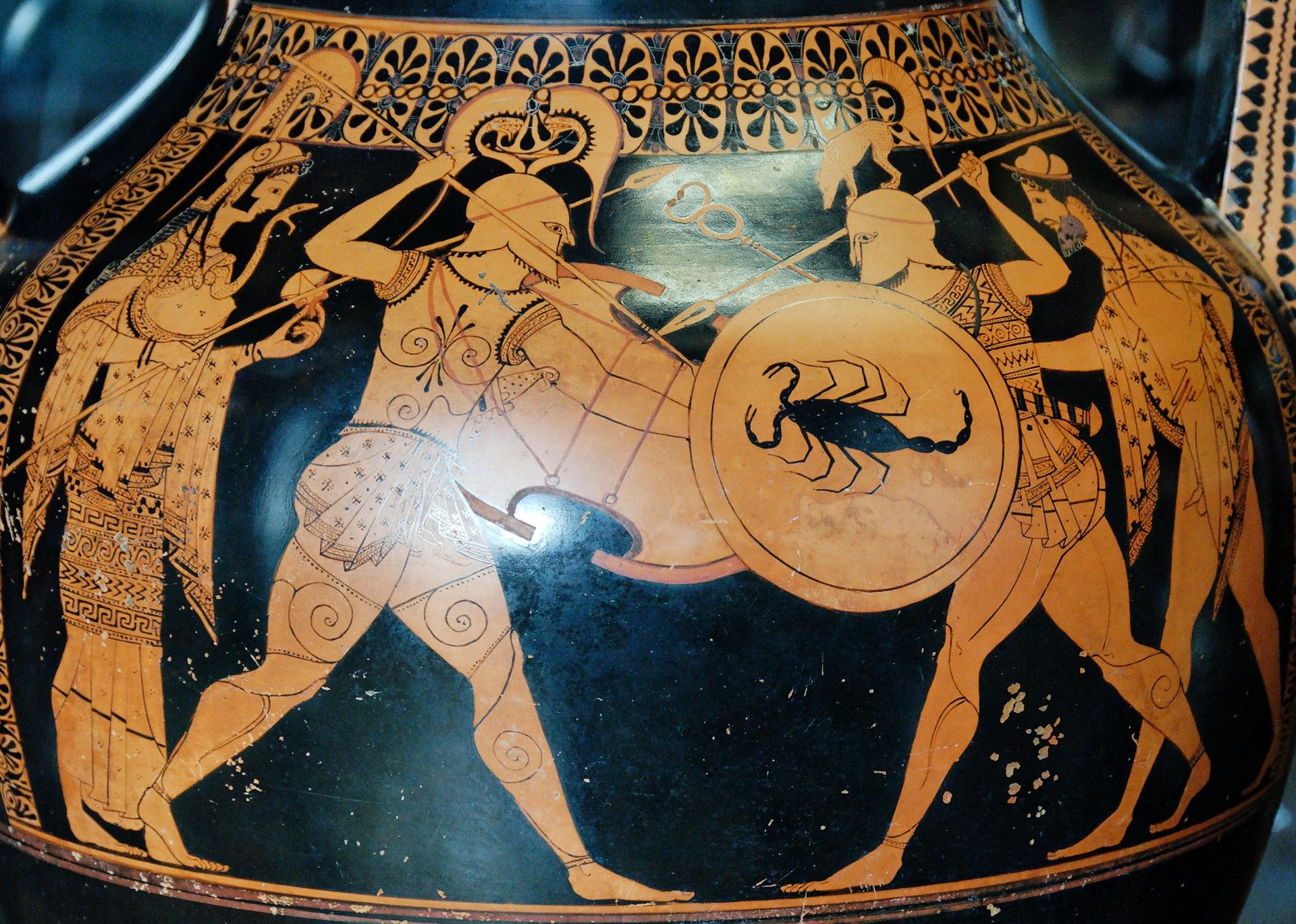 "Attisch-rotfigurige Bauchamphora, um 520 v. Chr., Ton, Höhe des Objektes 57,2 cm, Paris, Musée du Louvre, Inv.-Nr. G 1.<br> Quelle: <a href=""https://commons.wikimedia.org/wiki/File:Fight_Andokides_Louvre_G1.jpg"">User:Jastrow / Wikimedia Commons</a><br>Lizenz: Gemeinfrei"