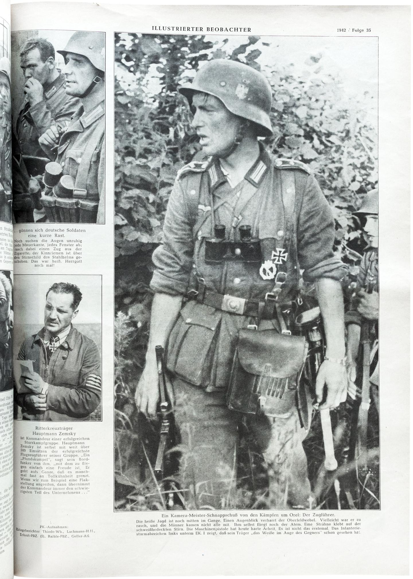"""""""Ein Kamera-Meister-Schnappschuß von den Kämpfen um Orel: Der Zugführer."""" (Bildunterschrift rechts)"""