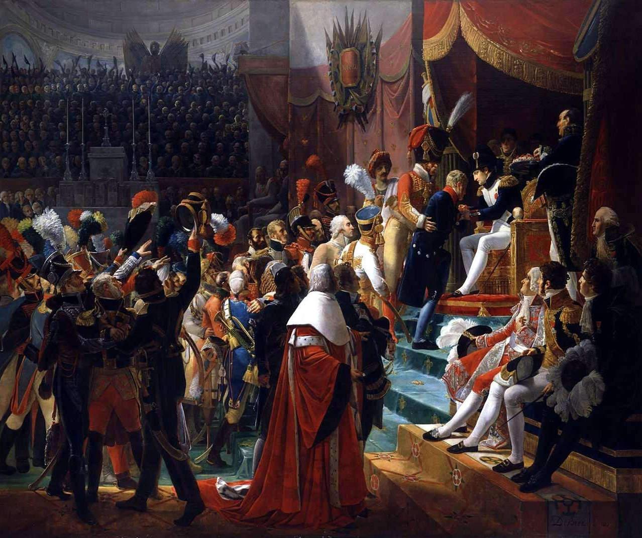 """(""""Première distribution des décorations de la Légion d'honneur dans l'église des Invalides, le 14 juillet 1804""""), 1812, Öl auf Leinwand, Musée national du château de Versailles<br>Quelle: <a href=""""https://commons.wikimedia.org/wiki/File:Debret_-_Premiere_distribution_des_decorations_de_la_Legion_d%27honneur.jpg"""">User:Frank Schulenburg / Wikimedia Commons</a><br>Lizenz: Gemeinfrei"""