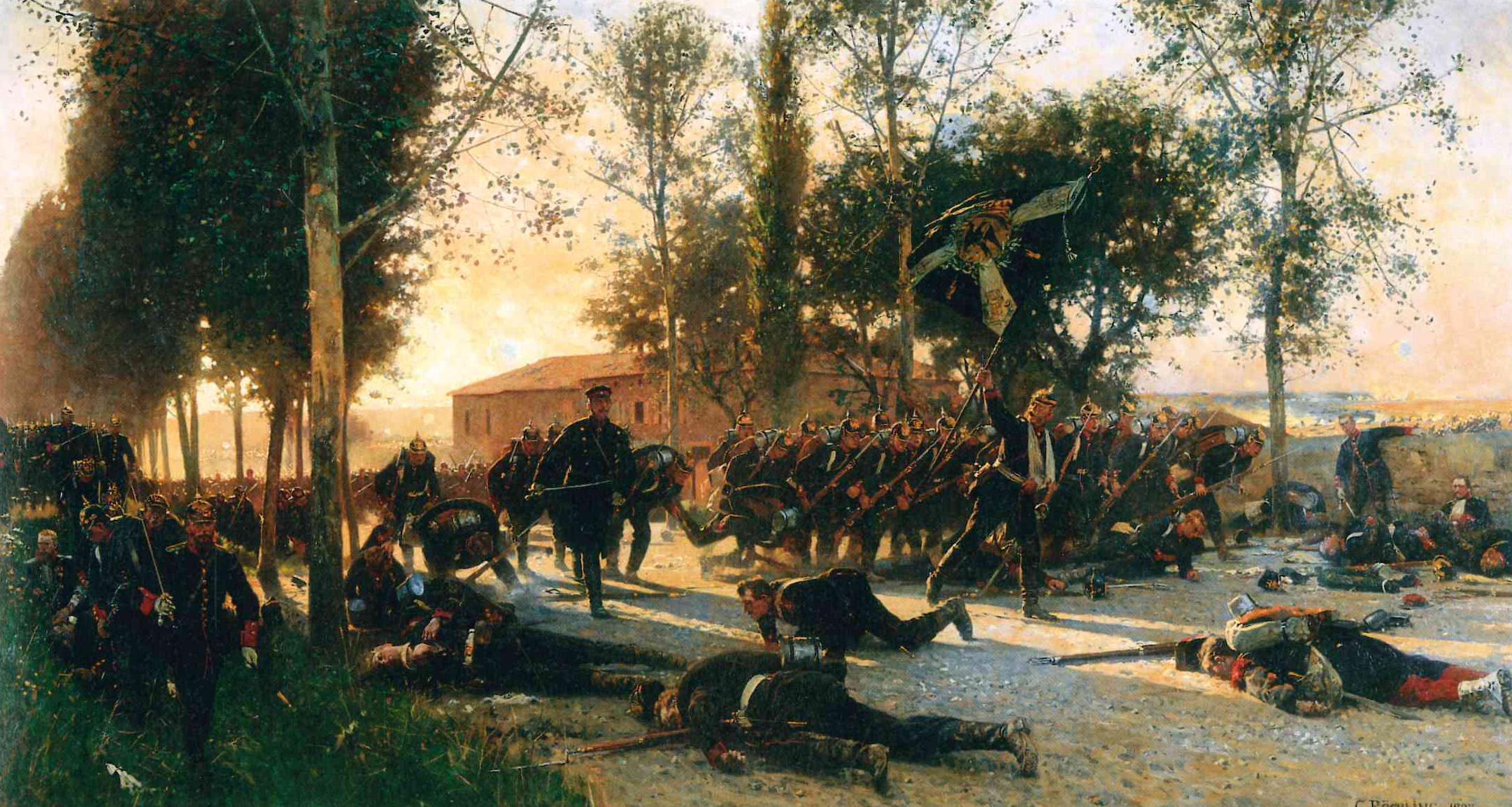 """Carl Röchling: """"Episode aus der Schlacht bei Gravelotte (Tod des Majors von Hadeln am 18. August 1870)"""""""