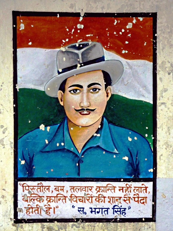 Wandbild Bhagat Singhs in Rewalsar, Indien