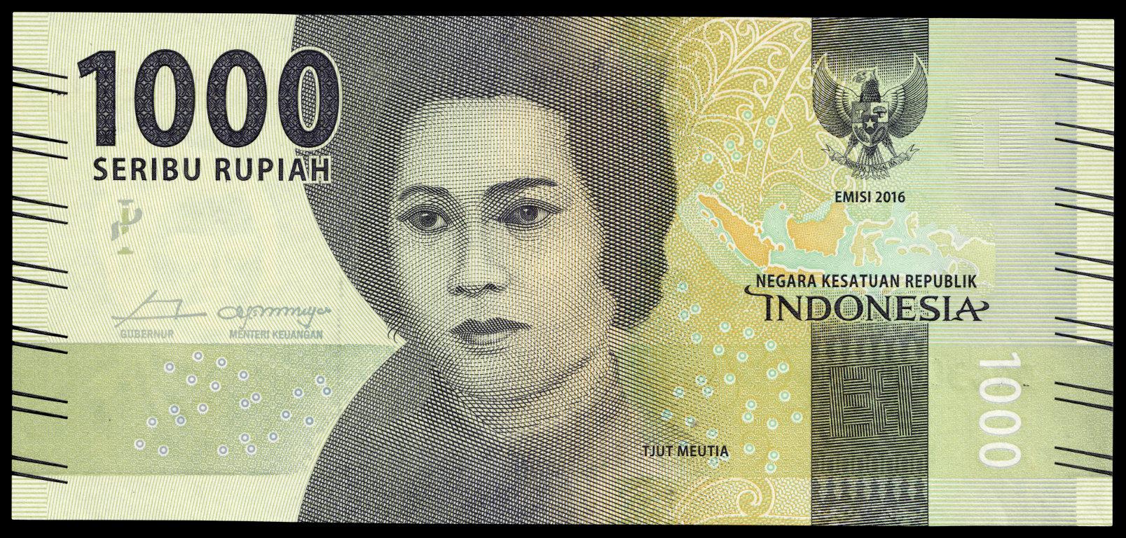 Indonesischer 1000-Rupien-Schein mit dem Konterfei Cut Nyak Meutias, 2016