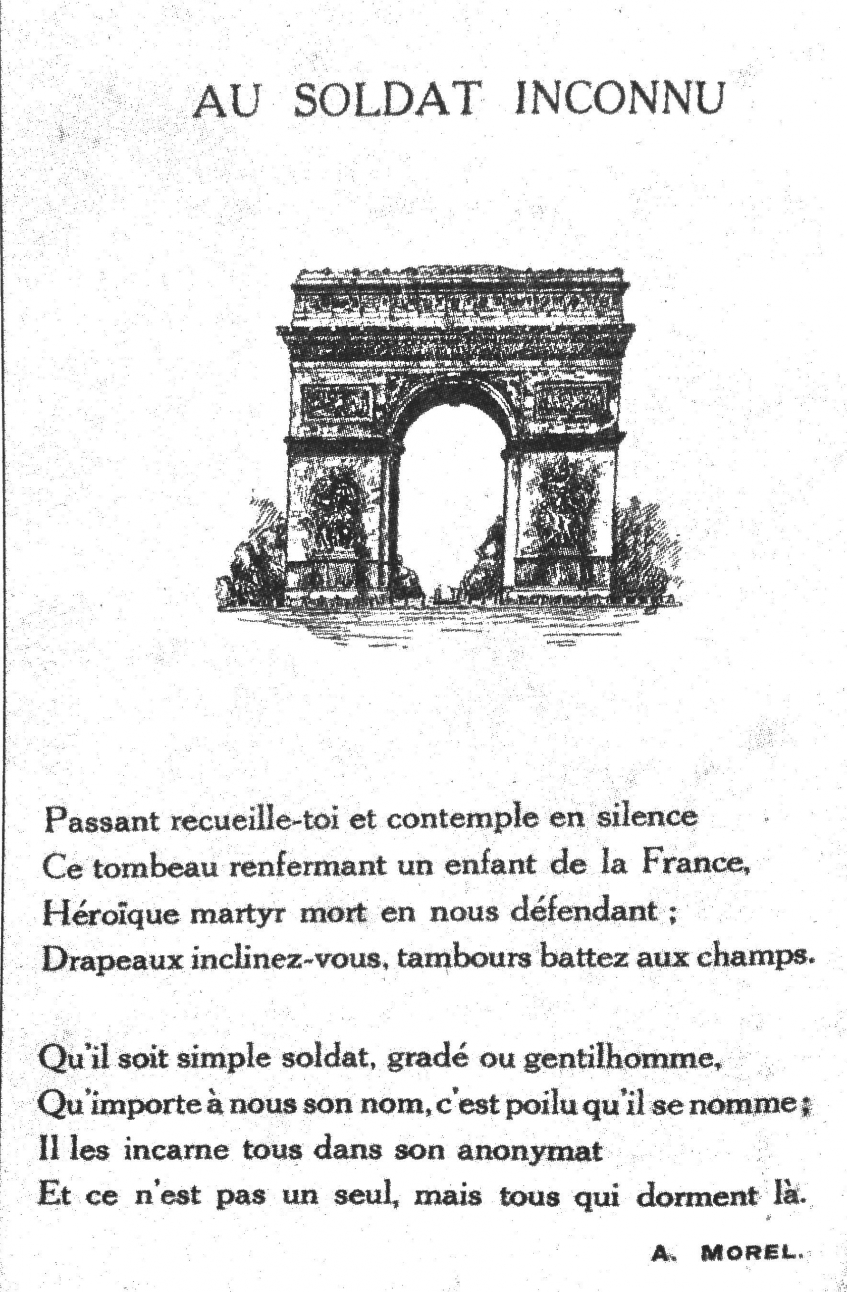 Auguste Morel: Au Soldat Inconnu (o. J.)