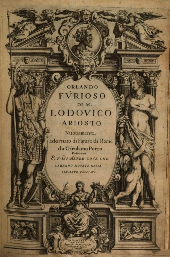 "auf dem Frontispiz zu Ludovico Ariosto: Orlando Furioso. Venedig 1584: Francesco de' Franceschi. (Ex. BSB München, Sign. Res/4 P.o.it 43 n.)<br> Quelle: <a href=""http://mdz-nbn-resolving.de/urn:nbn:de:bvb:12-bsb10165933-3"">Bayerische Staatsbibliothek digital</a> <br>Lizenz: <a href=""https://www.europeana.eu/portal/de/rights/out-of-copyright-non-commercial.html"">Nicht-kommerzielle Nutzung gestattet</a>"