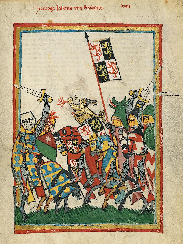 """ca. 1305–1315, UB Heidelberg, Cod. Pal. germ. 848, fol. 18r, Herzog Johann von Brabant (Mitte) in der Schlacht von Worringen.<br>Quelle: <a href=""""https://digi.ub.uni-heidelberg.de/diglit/cpg848/0031"""">Heidelberger historische Bestände – digital</a><br>DOI: <a href=""""https://doi.org/10.11588/diglit.2222#0031"""">10.11588/diglit.2222#0031</a><br>Lizenz: <a href=""""https://creativecommons.org/licenses/by-sa/3.0/de/"""">Creative Commons BY-SA 3.0</a>"""