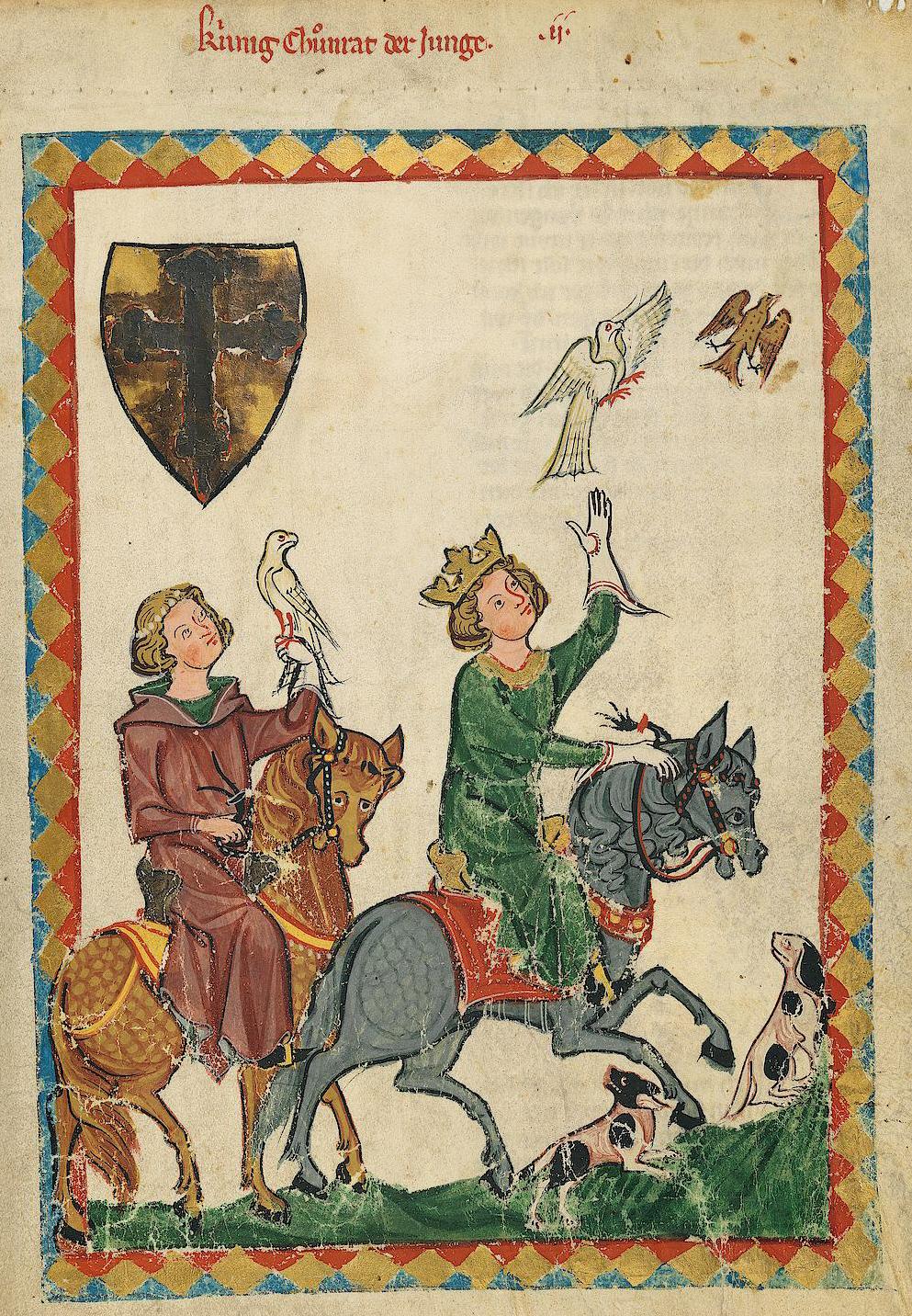 """ca. 1305–1340, UB Heidelberg, Cod. Pal. germ. 848, fol. 7r, Konradin von Hohenstaufen (""""König Konradin der Junge"""").<br>Quelle: <a href=""""https://digi.ub.uni-heidelberg.de/diglit/cpg848/0009"""">Heidelberger historische Bestände – digital</a><br>DOI: <a href=""""https://doi.org/10.11588/diglit.2222#0009"""">10.11588/diglit.2222#0009</a><br>Lizenz: <a href=""""https://creativecommons.org/licenses/by-sa/3.0/de/"""">Creative Commons BY-SA 3.0</a>"""
