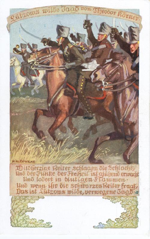 """o. J. Titel: """"Lützows wilde Jagd von Theodor Körner."""" <br>Quelle: <a href=""""http://www.goethezeitportal.de/?id=3816"""">Goethezeitportal</a><br>Lizenz: <a href=""""http://www.goethezeitportal.de/?id=3816"""">Nicht-kommerzielle Nutzung gestattet</a> (vgl. Ende der verlinkten Seite)"""