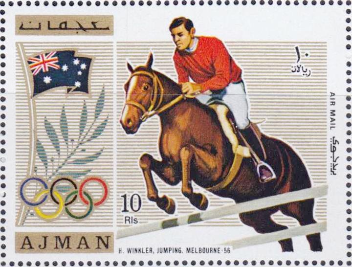 """bei den Olympischen Spielen in Melbourne 1956. Briefmarke der Vereinigten Arabischen Emirate, 1972.<br>  Quelle: <a href=""""https://commons.wikimedia.org/wiki/File:Hans_G%C3%BCnter_Winkler_1972_Ajman_stamp.jpg"""">User:Materialscientist / Wikimedia Commons</a> <br>Lizenz: Public Domain"""