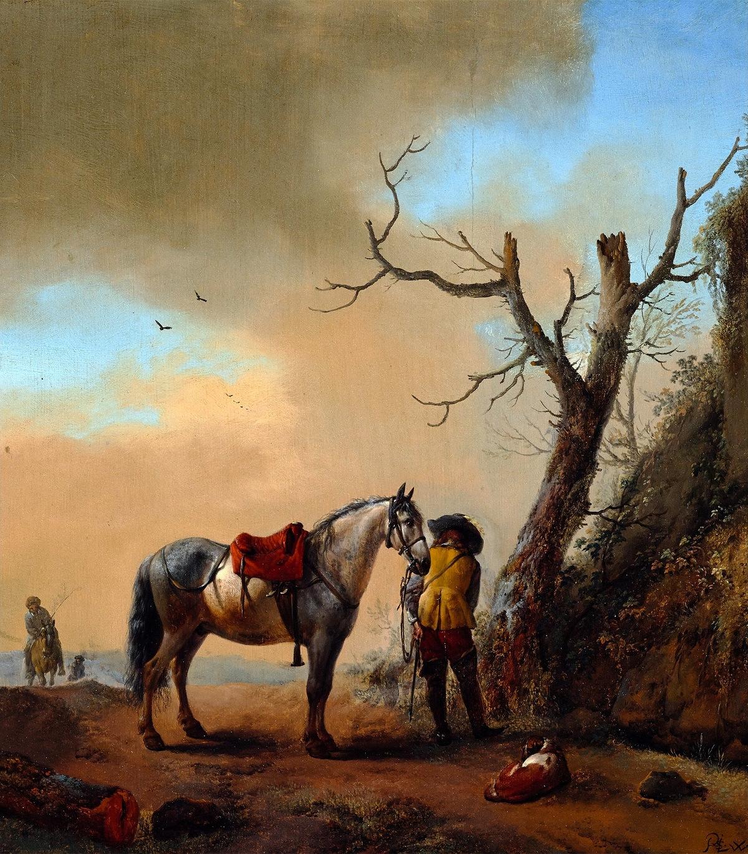 """ca. 1647/1648, Öl auf Leinwand, 35,9 × 31,9 cm, Warschauer Königsschloss.<br> Quelle: <a href=""""https://commons.wikimedia.org/wiki/File:Wouwerman_Soldier_and_his_horse.jpg"""">User:Artinpl / Wikimedia Commons</a> <br>Lizenz: Public Domain"""