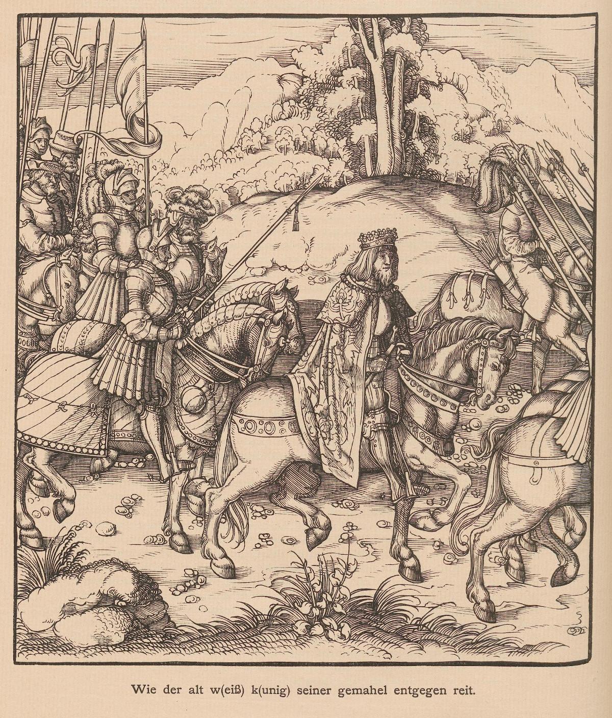 """1514, o. A.<br> Bildunterschrift: """"Wie der alt weiß kunig seiner gemahl entgegen reit."""" <br>Quelle: <a href=""""https://digi.ub.uni-heidelberg.de/diglit/jbksak1888/0046"""">Heidelberger historische Bestände – digital</a>; ursprl. publiziert in: Jahrbuch der Kunsthistorischen Sammlungen des Allerhöchsten Kaiserhauses. Der Weisskunig. Wien 6.1888, S. 16.<br>  Lizenz: <a href=""""https://creativecommons.org/licenses/by-sa/3.0/de/"""">Creative Commons BY-SA 3.0 DE</a>"""