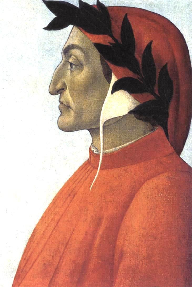 """Sandro Botticelli: """"Ritratto di Dante Alighieri"""", ca. 1495, Öl auf Leinwand, Bibliothèque et fondation Martin Bodmer, Cologny.<br> Quelle: <a href=""""https://www.wikiart.org/en/sandro-botticelli/portrait-of-dante"""">Fabio Tempo / WikiArt</a> <br>Lizenz: Public Domain"""