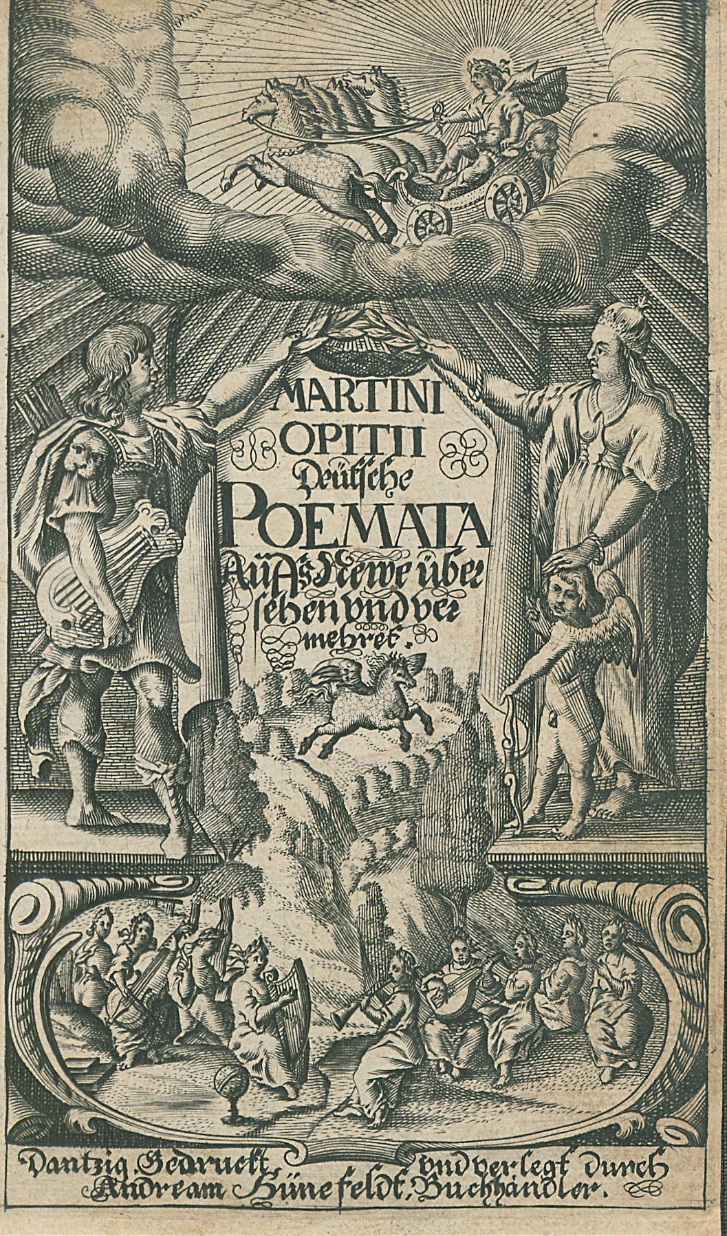 Frontispiz zu: Martin Opitz: Deutsche Poemata. Danzig 1641. (Ex. SB Berlin, Sign. Yh 9431)