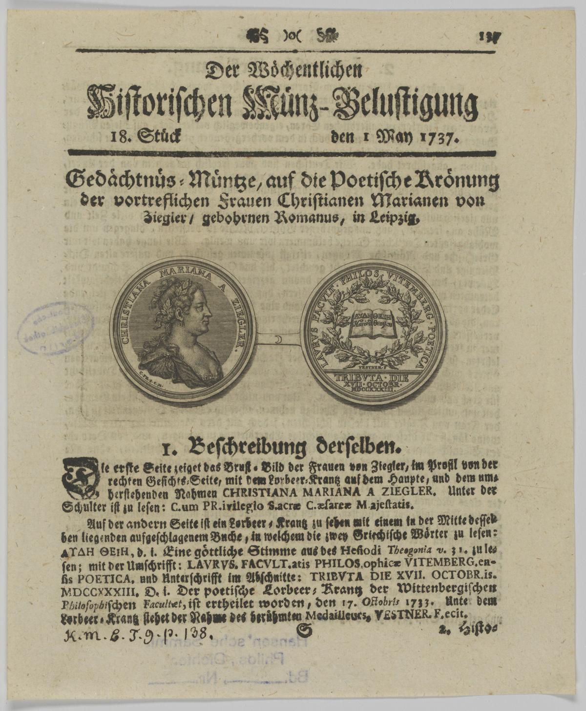 """in: Köhler, Johann David: Wöchentliche historische Münz-Belustigung. Nürnberg, 01.05.1737, S. 197. (Ex. SB Berlin – Preußischer Kulturbesitz, Handschriftenabteilung, Inventar-Nr. Portr. Slg/ Slg Hansen/ Philos., Dichter/ Bd. 22/ Nr. 45) <br>Quelle: <a href=""""http://www.portraitindex.de/bilder/zoom/sbb-003095"""">Digitaler Portraitindex der druckgraphischen Bildnisse der Frühen Neuzeit</a> <br>Lizenz: <a href=""""https://creativecommons.org/licenses/by-nc-sa/4.0/"""">Creative Commons BY-NC-SA 4.0 International</a>"""