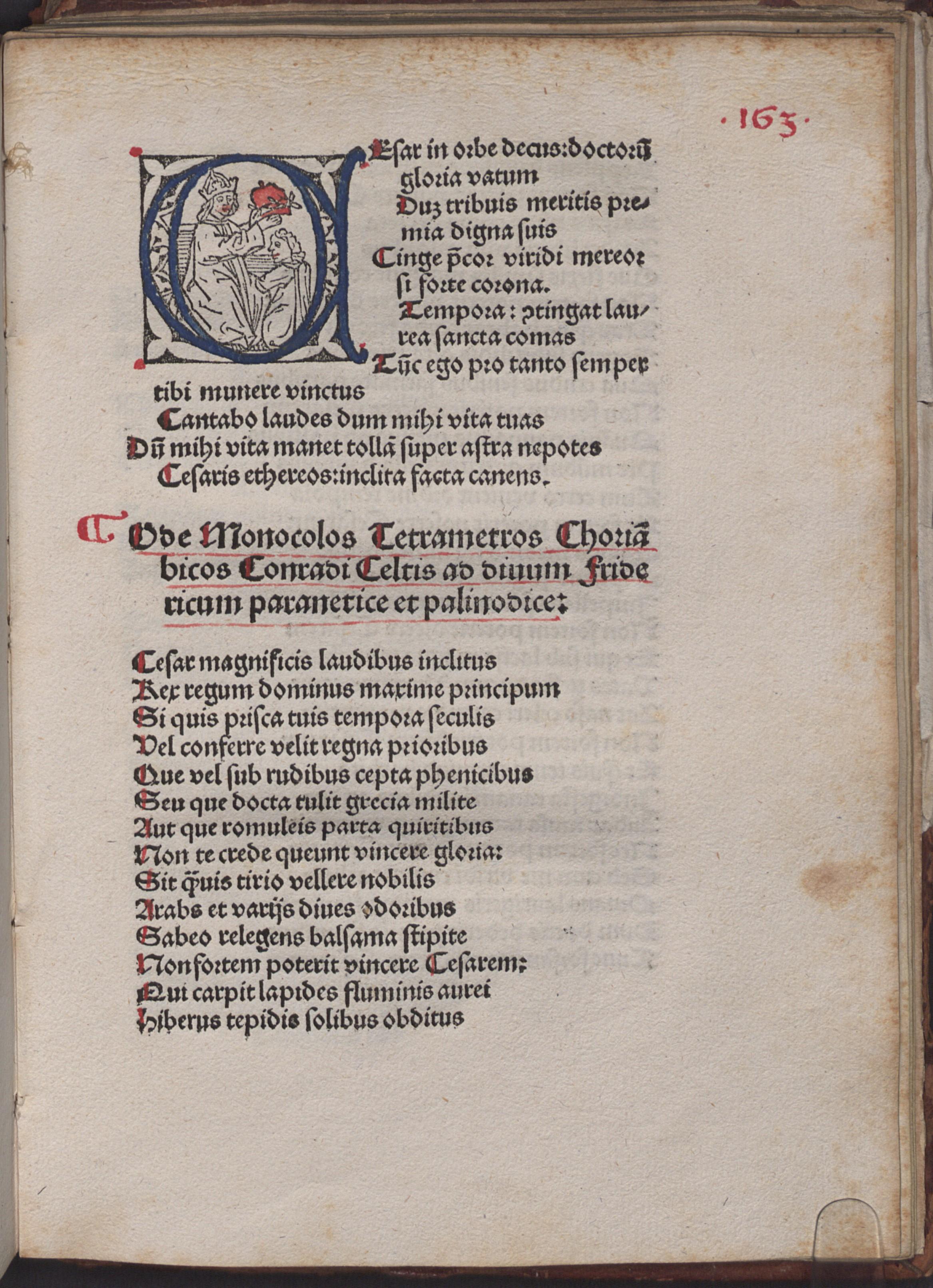 """Celtis, Konrad / Pighinucius, Fridianus / Canter, Johannes: Proseuticum ad Fridericum III. pro laurea Apollinari, mit Brief des Autors an Kaiser Friedrich III. und Widmungsbrief an Herzog Georg von Sachsen. Nürnberg 25.4.[1487], pag. 163. (Ex. BSB München; Sign. 4 Inc.c.a. 498) <br>Quelle: <a href=""""http://daten.digitale-sammlungen.de/0002/bsb00026493/images/"""">Bayerische Staatsbibliothek digital</a> <br>Lizenz: <a href=""""https://creativecommons.org/licenses/by-nc-sa/4.0/"""">Creative Commons BY-NC-SA 4.0</a>"""