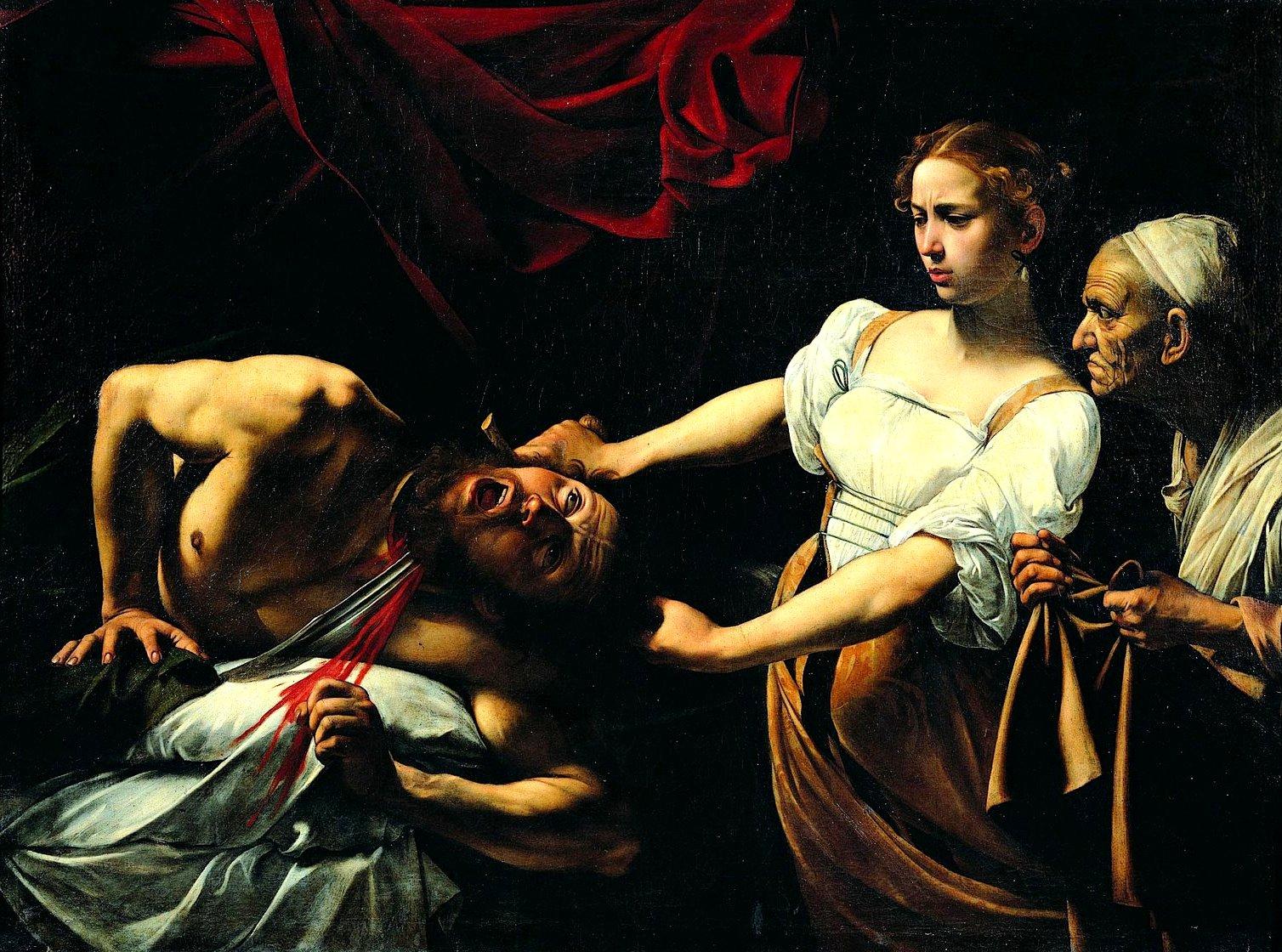 """1598–1599, Öl auf Leinwand,  145 cm × 195 cm, Galleria Nazionale d'Arte Antica, Palazzo Barberini, Rom.<br><strong>Quelle:</strong> <a href=""""https://commons.wikimedia.org/wiki/File:Caravaggio_-_Giuditta_che_taglia_la_testa_a_Oloferne_(1598-1599).jpg"""">User:Latif86 / Wikimedia Commons</a><br><strong>Lizenz:</strong> Public domain<br><strong>Erläuterung:</strong> Caravaggio kontrastiert die feminine, jugendliche und nahezu liebliche Erscheinung Judiths mit dem muskulösen Körper des Holofernes und der greisen  Dienerin. Eine untypische Heldin ist Caravaggios Judith jedoch nicht nur in Hinsicht auf ihren Körper. Überrascht und angeekelt von ihrer eigenen (Helden-)Tat weicht Judith zurück und sucht Distanz zum spritzenden Blut Holofernes'. So erscheint die heroisierende Darstellung Judiths im Gemälde auf mehreren Ebenen gebrochen."""