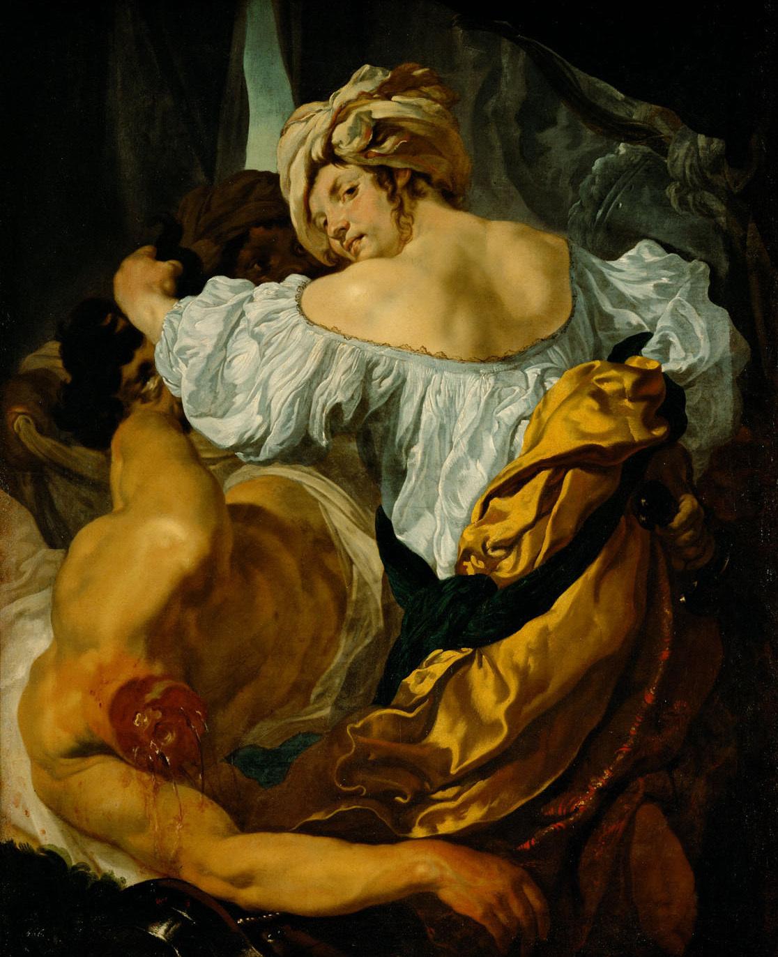 """1. Drittel des 17. Jahrhunderts, Öl auf Leinwand, 126 cm × 102 cm, Kunsthistorisches Museum Wien, Gemäldegalerie, Inv.-Nr. 2324. <br><strong>Quelle:</strong> <a href=""""https://www.khm.at/objektdb/detail/1108/"""">Kunsthistorisches Museum Wien</a> <br><strong>Lizenz:</strong> <a href=""""https://creativecommons.org/licenses/by-nc-sa/4.0/deed.de"""">Creative Commons BY-NC-SA 4.0</a> <br><strong>Erläuterung:</strong> Johann Liss exponiert in seinem Gemälde die muskulösen Schultern Judiths, sodass die Darstellung viel eher dem klassischen Ideal des athletisch-maskulinen Heldenkörpers entspricht. Judith wirkt damit nicht nur körperlich dem Holofernes ebenbürtig, auch vollzieht sie ihre Tat in ruhiger Abgeklärtheit und scheut die Nähe zum dekapitierten Körper des Holofernes nicht."""