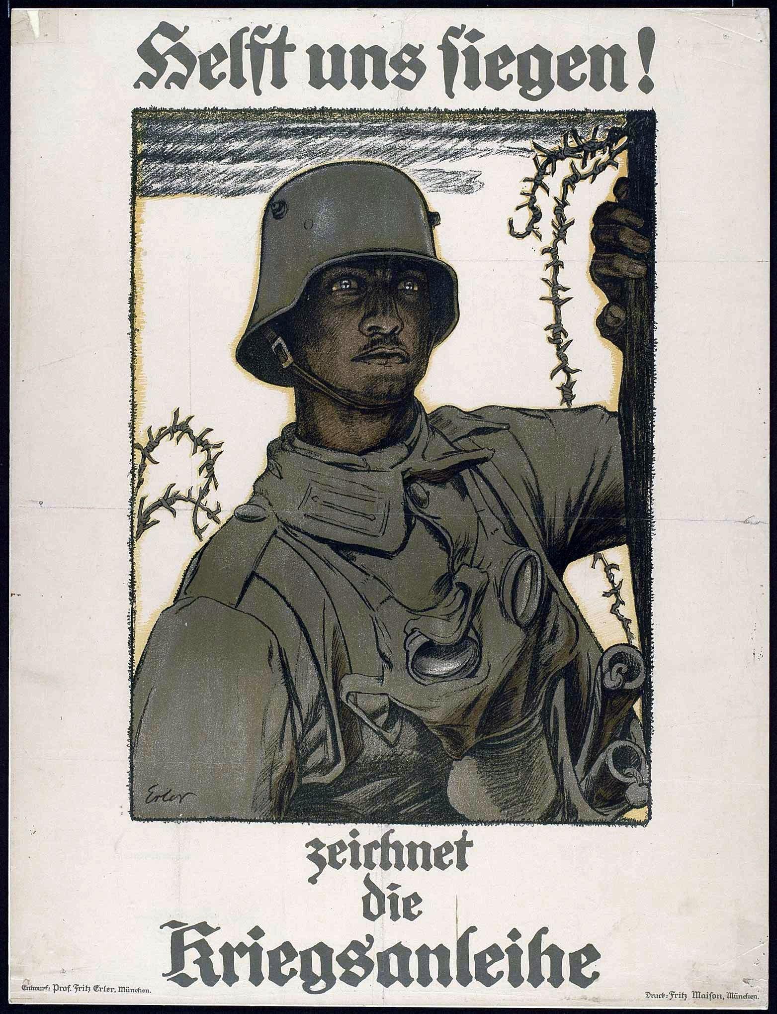 Fritz Erler: Mann mit dem Stahlhelm vor Verdun, 1917