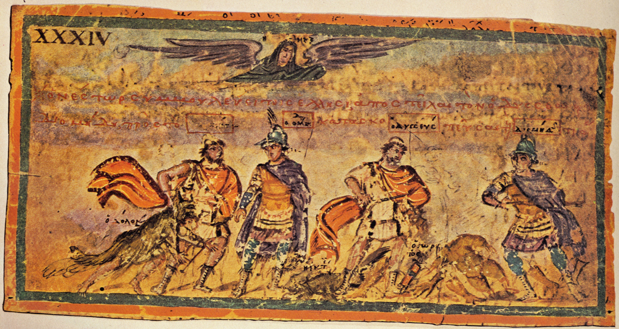 "Illustration in der Ilias Ambrosiana, 5. Jh. n. Chr. Mailand, Bibliotheka Ambrosiana Cod. F 205 inf. Nr. 34.<br>Quelle: <a href=""https://commons.wikimedia.org/wiki/File:AmbrosianIliadPicXXXIVCaptureDolon.jpg"">Dsmdgold / Wikimedia Commons</a><br> Lizenz: Public Domain"
