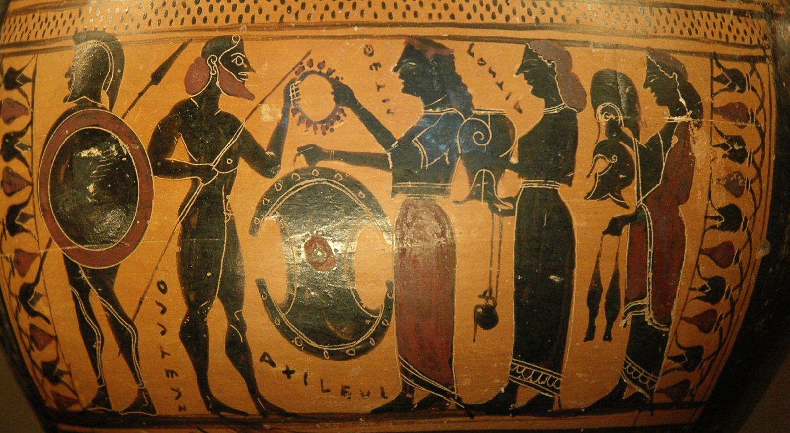 "Attisch-schwarzfigurige Hydria, gegen 570/60 v. Chr. Ton. Paris, Musée du Louvre Inv. E 869.<br>Quelle: <a href=""https://commons.wikimedia.org/wiki/File:Hydria_Achilles_weapons_Louvre_E869.jpg"">User:Jastrow / Wikimedia Commons</a><br> Lizenz: Public Domain"