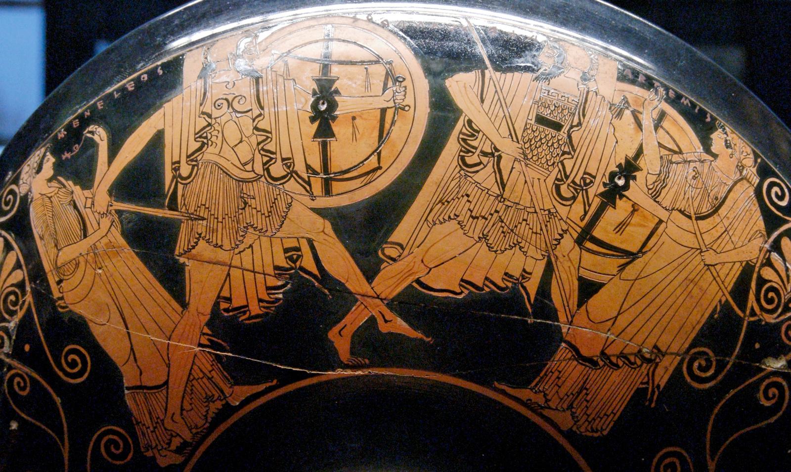 "Attisch-rotfigurige Trinkschale, gegen 490 v. Chr. Ton. Paris, Musée du Louvre Inv. G 115. <br>Quelle: <a href=""https://commons.wikimedia.org/wiki/File:Menelaus_Paris_Louvre_G115.jpg"">User:Jastrow / Wikimedia Commons</a><br> Lizenz: Public Domain"