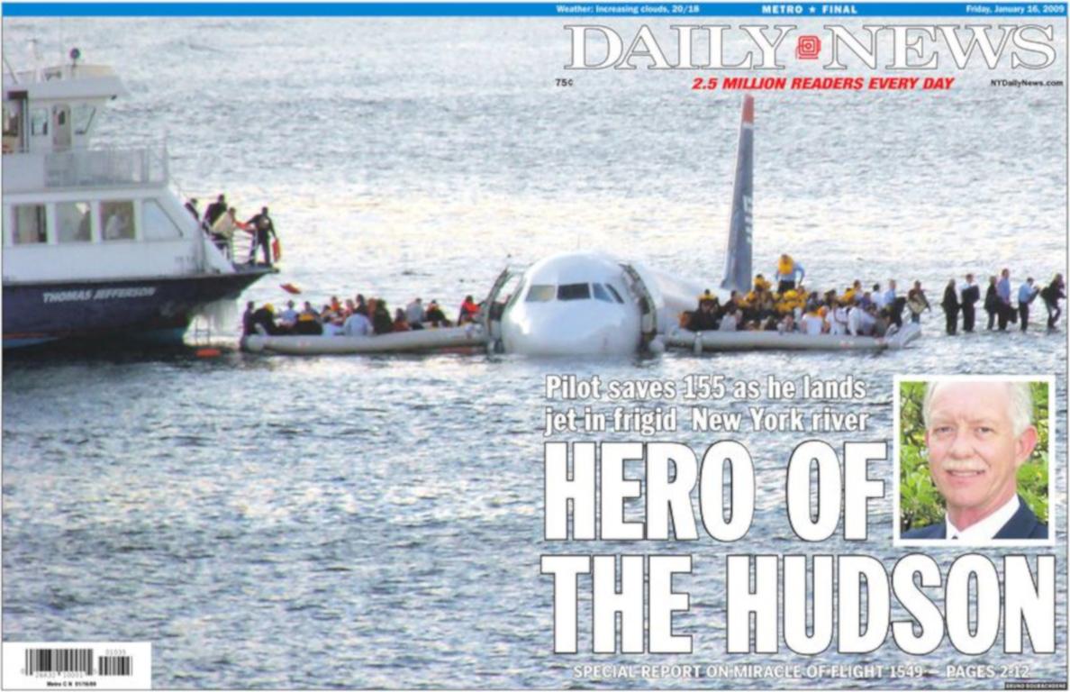 Titelblatt der Daily News, Freitag, 16. Januar 2009, New York