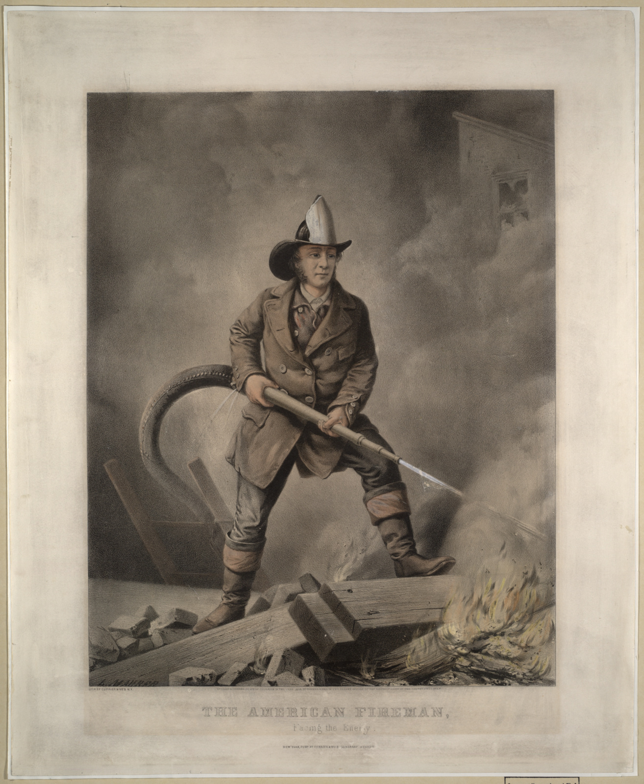 "1858, nachgefärbte Lithographie, 16 x 20 Zoll, aus der Serie ""American Fireman"".<br>