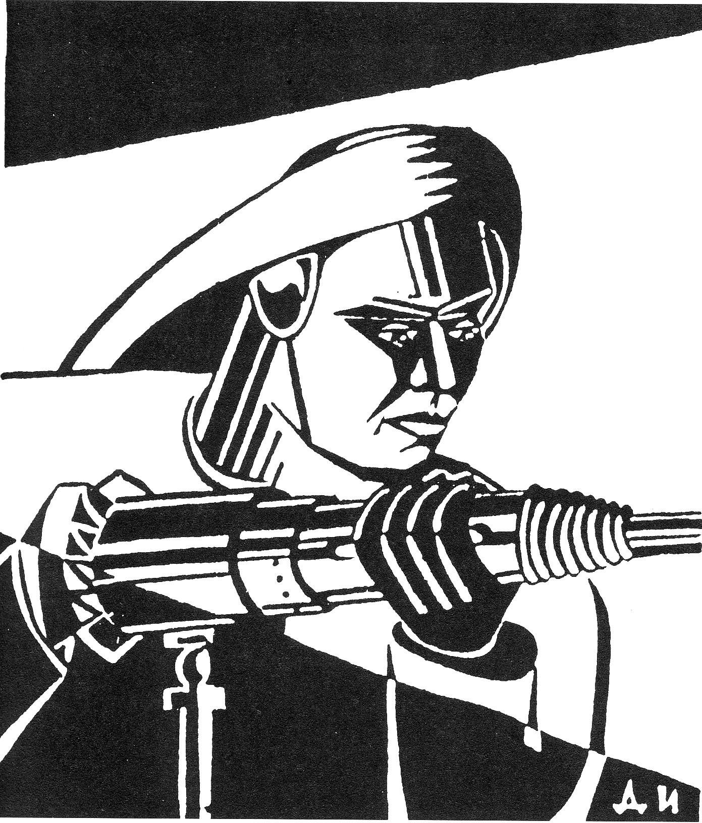 """Aus der Betriebszeitung """"Udarnik Metrostroja"""" [Der Stoßarbeiter der Metro], Nr. 197, 24.8.1934, S. 3.<br> <strong>Lizenz:</strong> Zitat nach § 51 UrhG<br> <strong>Erläuterung:</strong> Die Anfangszeit des Baus der Moskauer Untergrundbahn in den 1930er Jahren war eine der wichtigsten Projektionsflächen von Arbeitsheldentum. Über zahlreiche Betriebszeitungen, Broschüren, Artikel, Plakate und ein Begleitprojekt, das die Geschichte des Metrobaus autobiographisch, literarisch und künstlerisch dokumentierte, wurde die Arbeit auf den Baustellen heroisch aufgeladen und zur """"Schmiede des neuen Menschen"""" stilisiert. Der Presslufthammer als Symbol der Technisierung und Äquivalent zum Gewehr war ein typisches Element der Ikonographie."""