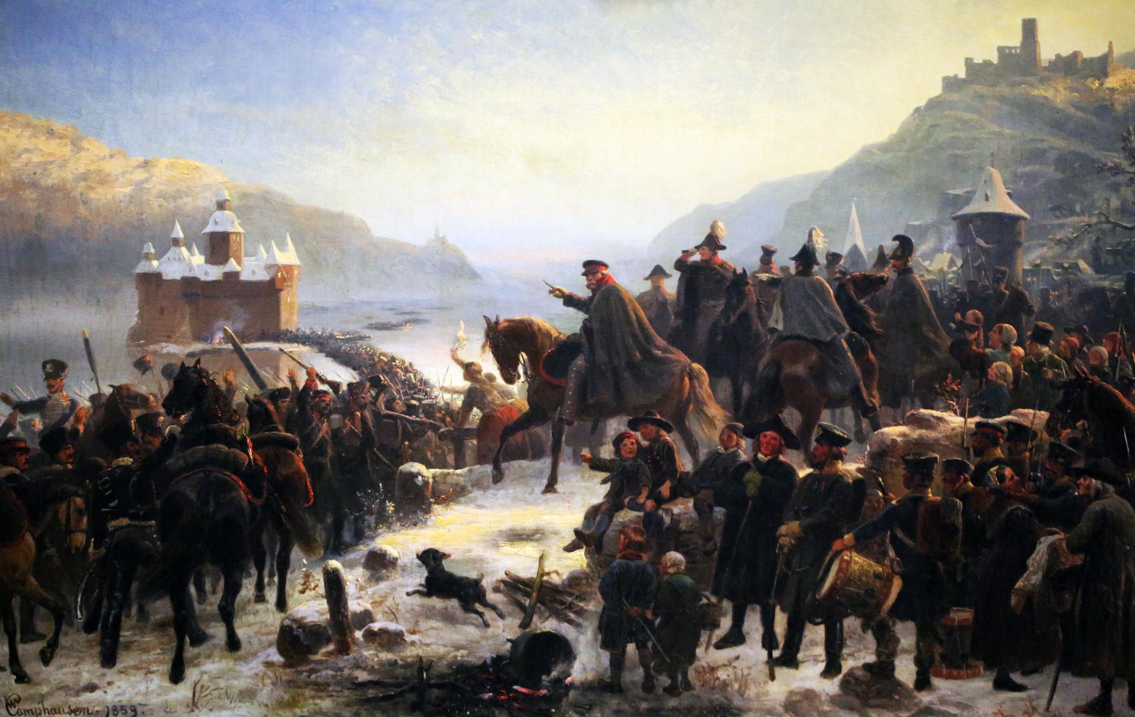 """1859, Öl auf Leinwand, Mittelrhein-Museum Koblenz, Inv.-Nr. M 489. <br/>Quelle: <a href=""""https://commons.wikimedia.org/wiki/File:Wilhelm_Camphausen,_Blüchers_Rheinübergang_bei_Kaub.jpg"""">User:HOWI / Wikimedia Commons</a> <br/>Lizenz: gemeinfrei"""