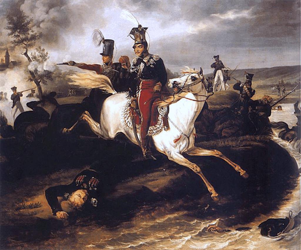 "vor 1830, Öl auf Leinwand. <br/>Quelle: <a href=""https://commons.wikimedia.org/wiki/File:Death_of_Poniatowski.jpg"">Wikimedia Commons</a> <br/>Lizenz: Zitat nach § 51 UrhG"