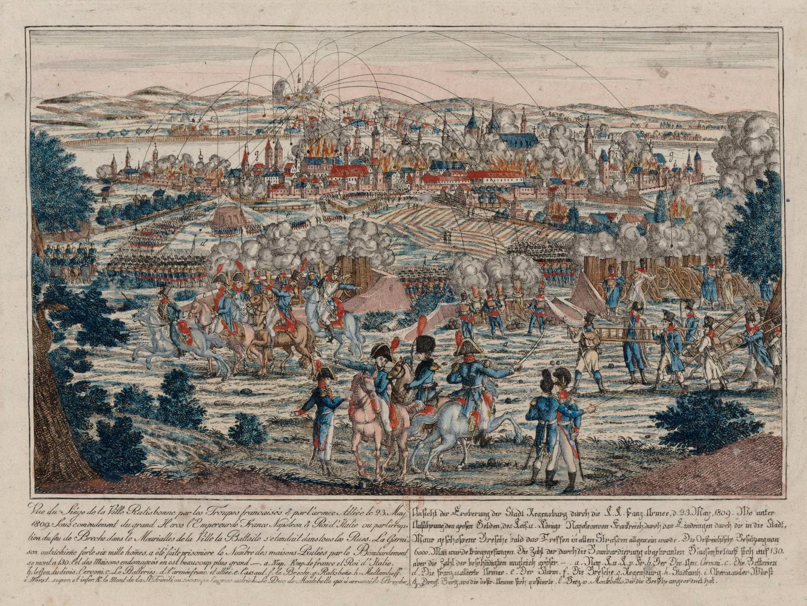 Anonym: Vue du siège de la ville Ratisbonne par les troupes françaises