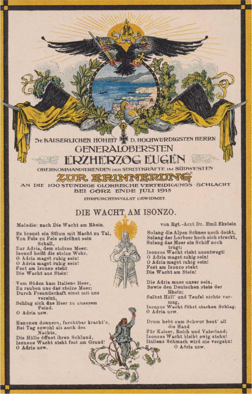 """Illustrierte Postkarte mit Gedicht von Emil Ekstein nach Max Schneckenburgers <em>Die Wacht am Rhein</em>, nach 1915. <br/>Quelle: Joachim Bürgschwentner, Offizielle Ansichten, Karte Nr. 441, URL: <a href=""""http://hdl.handle.net/21.11115/0000-000C-DF18-F"""">http://hdl.handle.net/21.11115/0000-000C-DF18-F</a> <br/>Lizenz: Zitat nach § 51 UrhG"""