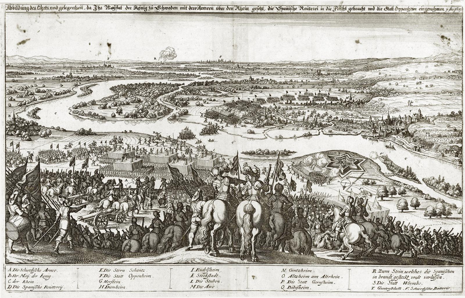 in Abelinus: Historische Chronick [Theatrum Europaeum], Frankfurt 1637, doppelseitige Kupferstich-Tafel nach S. 450. <br/>Quelle: Universitätsbibliothek Augsburg, Signatur: 02/IV.13.2.26-2 <br/>Lizenz: Nutzung genehmigungspflichtig