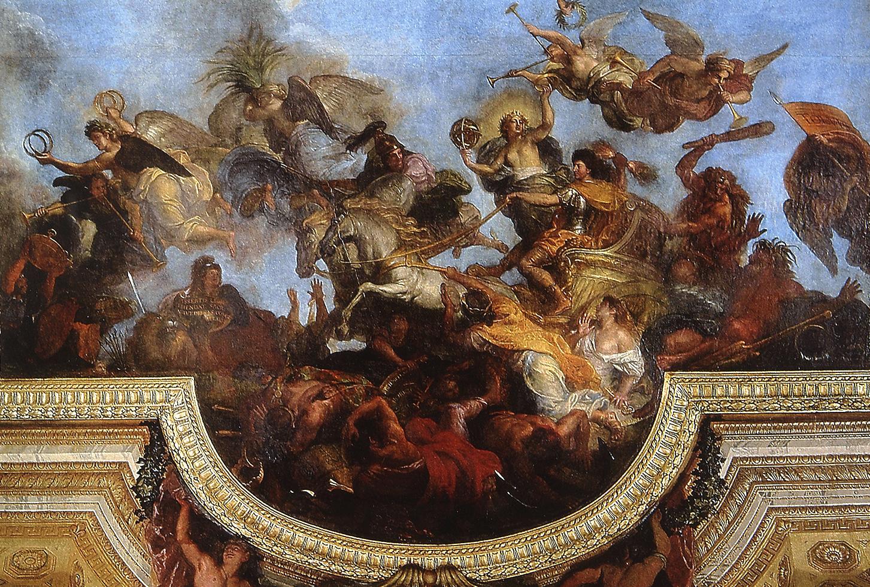 1672, Deckengemälde in Versailles. <br/>Quelle: Ziegler, H.: Der Sonnenkönig und seine Feinde. Die Bildpropaganda LudwigsXIV. in der Kritik. Petersberg 2010, 25. <br/>Lizenz: Zitat nach §51 UrhG