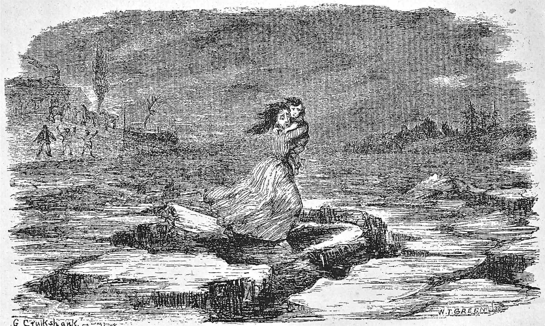 George Cruikshank: Eliza Crosses the Ohio on the Floating Ice